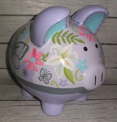 Bella Butterfly Floral Personalized Piggy bank in lavender, grey and aqua Personalized Piggy Bank, Money Box, Pottery Painting, Porcelain Ceramics, Peppa Pig, Banks, Floral, Diy And Crafts, Lavender