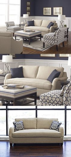 Love the blue and cream theme featuring lovely furniture by our valued business partner, Braxton Culler. * Ordered the couch in Indigo, with cream piping. Formal Living Rooms, Home Living Room, Living Room Furniture, Living Room Designs, Living Room Decor, Apartment Living, Furniture Chairs, Arm Chairs, Furniture Plans
