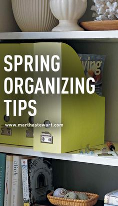 Spring Organizing Tips   Martha Stewart Living - Spring-cleaning means not only giving everything a good wipe-down but decluttering your space to welcome the warmer seasons ahead. Follow these tips and you'll breathe a sigh of spring relief.