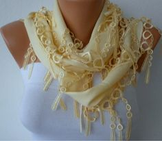ON SALE Light Yellow Scarf   Pashmina Scarf   Cowl by fatwoman, $12.00