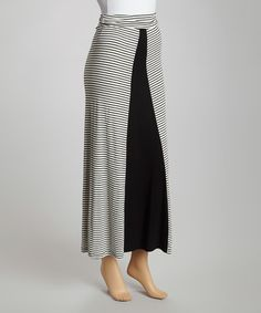 Ivory Stripe Maxi Skirt #zulily #zulilyfinds Inspiration - make me thinner or look wider?