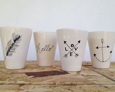 Love & Arrows Cup Feather Cup Anchor Cup or Hello Cup by LunaReece, $20.00