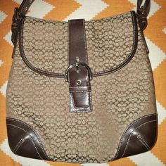 Coach Brown. Signature pattern. Coach Bags Shoulder Bags
