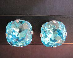 Light Turquoise Swarovski Crystal Earings/ Bridesmaid Jewelry/ Crystal Studs/ Crystal Cushion Stones
