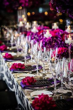 For wedding decor - purple, deep pinks and surprise charcoal! look rich and elegant ~ Napa Valley Linens