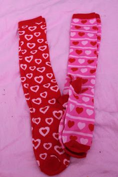 American Girl Doll Play: Making Valentine's Day Socks, Leg-Warmers and Hairbands From a Pair of Socks!