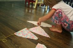 Tutorial: no-sew triangle pennant banners with kids  (just one more reason to adore Megan Cooley--can she come play at my house??).