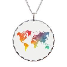 World map watecolor colored Necklace Circle Charm