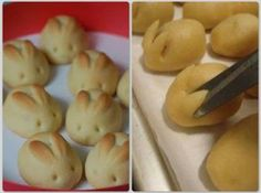 Easter Bunny Rolls Recipe - Use any frozen or homemade bread dough, form your rolls, then snip and lift/shape the ears during rising and carve the eyes once they are baked. A perfect idea for Easter! Easter Recipes, Holiday Recipes, Holiday Treats, Easter Rolls Recipe, Easter Dinner Recipes, Holiday Foods, Holiday Fun, Cute Food, Yummy Food