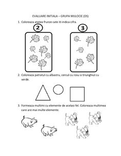 FISE de Evaluare Initiala grupa MIJLOCIE - DS - DLC - DOS | Fise de lucru - gradinita Numbers Preschool, Preschool Worksheets, Preschool Activities, Math 2, Color Activities, Math For Kids, Romance Books, Kindergarten, Bullet Journal