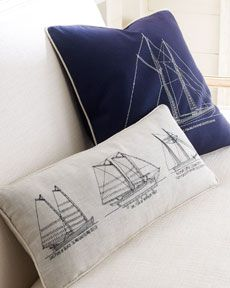 nautical pillows... could you trace a ship onto the fabric and make your own??