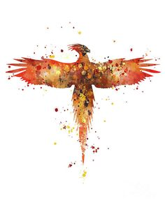 #phoenix #art #print #fawkes #movie #chamberofsecrets #harrypotter #watercolor #gift #hogwarts #niffler #geekery #wizard #red #splatter #painting #homedecor #bird #yellow #illustration #tattoo