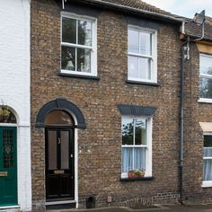 Grey Painted Victorian Terraced Houses Black Window