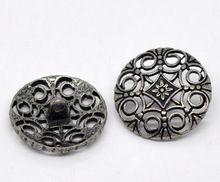DoreenBeads Antiek Zilver Hollow Bloem Naaien Metalen Knoppen 24mm, verkocht per pakket van 20 2017 nieuwe(China)
