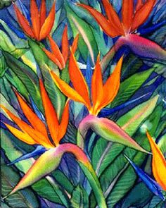 Bilderesultat for silk painting ideas Tropical Flowers, Tropical Art, Plant Painting, Fabric Painting, Fabric Art, Art Floral, Watercolor Flowers, Watercolor Paintings, Birds Of Paradise Flower