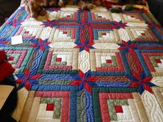 king size log cabin star quilt pattern | Blue and Yellow Colorado ... : colorado log cabin quilt - Adamdwight.com