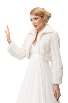 Wedding mink faux fur bridal jacket shrug collar cape long sleeve bolero full lined (XL, Ivory)