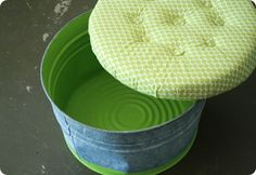 upholstered DIY top turns a galvanized tub into a storage ottoman (when it's not being a bucket!) - great idea for the back porch Dog Toy Storage, Diy Storage, Seat Storage, Outdoor Storage, Porch Storage, Storage Stool, Decorative Storage, Hidden Storage, Storage Baskets