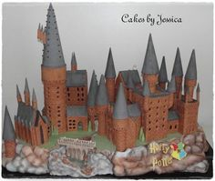 The castle is ginger bread and the cake is the rock cliffs around it...