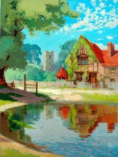 Aldbury, Hertfordshire – by Jack Merriott Art Uk, Watercolour Painting, Landscape Art, Van Gogh, Explore, British, England, Oil, Classic