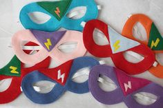 Super Hero Mask (with lightning bolt badge) ANY COLORS- CHILD. $14.00, via Etsy.