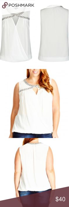 NWT 20 plus size studded cross front bubble top Embellish your new season wardrobe with our Ivory Sleeveless Metallic Stud Plus Size Top.   Key Features Include: - Round neckline adorned with gunmetal nailheads - Front keyhole detail  - Fixed-wrap bodice  - Elastic bubble hem  - Semi sheer chiffon fabrication - Plus size 20 ( city chic L) City Chic Tops Blouses