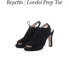 repetto lorelei peep toe pump shoes wore it twice. it's Italy size 38. Italy size run small. I'm size 6.5. I wore it with a little padding, so I think size 7 would fit perfect. Repetto Shoes