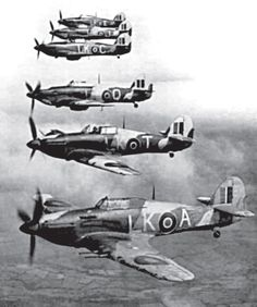 87 Squadron RAF in formation, from 'Australian Eagles: Australians in the Battle of Britain' by Kristen Alexander. Ww2 Aircraft, Fighter Aircraft, Fighter Jets, Hawker Hurricane, Ww2 Pictures, Supermarine Spitfire, Battle Of Britain, Ww2 Planes, Royal Air Force