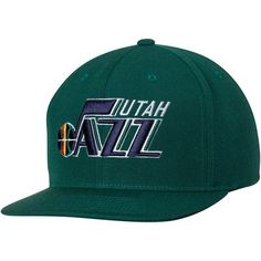 Utah Jazz Mitchell & Ness Current Logo Wool Solid Adjustable Snapback Hat - Green