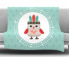 Hipster Owlet Mint Coral by Daisy Beatrice Fleece Throw Blanket