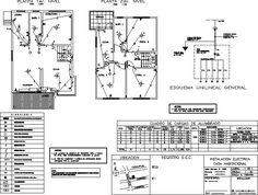 Resultado de imagen para diagrama unifilar electrico de una casa Home Electrical Wiring, Electrical Layout, Autocad, Lighting Design, Engineering, Floor Plans, How To Plan, Architecture, Construction