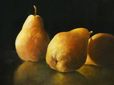 Philip Barlow | OIL on Canvas | Three Pears Oil on Canvas 14 x 18 in. SOLD Still Life Fruit, Pears, Oil On Canvas, Flow, Stuffed Mushrooms, Vegetables, Painting & Drawing, Artists, Stuff Mushrooms