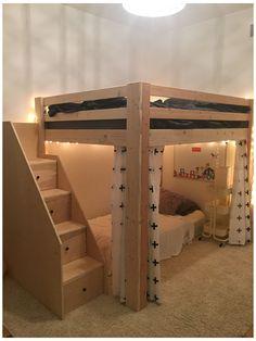 Girls Bedroom With Loft Bed, Loft Beds For Small Rooms, Small Room Design Bedroom, Girl Bedroom Designs, Room Ideas Bedroom, Home Room Design, Bedroom Decor, Cool Loft Beds, Build A Loft Bed