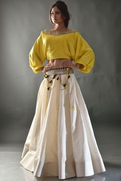 Buy Yellow & Beige Sequins Embroidered Cotton Crop Top Lehenga Online - waff life photos and shared Choli Designs, Lehenga Designs, Blouse Designs, Crop Top Designs, Indian Lehenga, Indian Gowns, Indian Wear, Lehenga Crop Top, Indian Designer Outfits