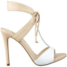 GUESS Alexes T-Strap Tie Heels ($77) ❤ liked on Polyvore featuring shoes, pumps, natural multi leather, t bar shoes, guess pumps, genuine leather shoes, leather footwear and leather shoes