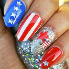 Stiletto Nail Design for 4th of July