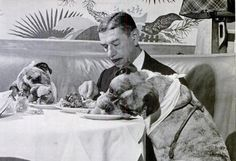 Romanoff eating with his dogs, 1945.
