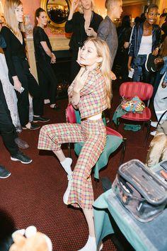 Gigi Hadid backstage at the Brandon Maxwell fashion show