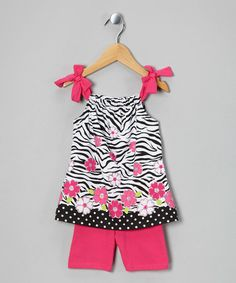 This Pink Zebra Tunic & Shorts - Toddler is perfect! #zulilyfinds