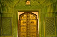 Intricate doorway of the City Palace in Jaipur, Rajasthan, India.