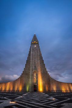 The Hallgrímskirkja is the main cathedral in Reykjavík, Iceland and is known for its peculiar (spectacular!) design.