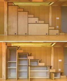 Tiny House Furniture Staircase Storage, Beds & Desks cabinets, stairs with flip up steps and very narrow stairs. Each step goes up one at a time for each foot. It is sort of spaced so you are putting one foot per step with a steeper step. Very space-sav Staircase Storage, Stair Storage, Garage Storage, Basement Storage, Space Saving Staircase, Tiny House Storage, Stairs With Storage, Staircase Ideas, Closet Storage
