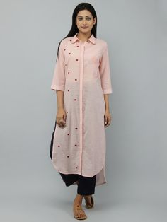 Nice Casual Hijab Outfit Old Rose Cotton Shirt Kurta. Plain Kurti Designs, Simple Kurti Designs, Kurta Designs Women, Neck Designs For Suits, Dress Neck Designs, Blouse Designs, Kurti Sleeves Design, Kurta Neck Design, Kurta Style