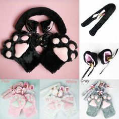 1 Set New Anime Cosplay Costume cat Ears Plush Paw Claw Gloves Tail Bow-tie Girls Women Winter Halloween Lovely Gifts