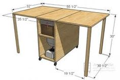 dims for fold away sewing table