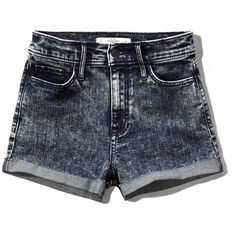 Abercrombie & Fitch High Rise Short ($23) ❤ liked on Polyvore featuring shorts, dark acid wash, high waisted cotton shorts, high rise shorts, abercrombie & fitch, high-waisted shorts and acid wash shorts