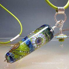 Necklace - Artist Lampwork Glass, Silver and Leather Pendant by Manuela Wutschke - Winter Sun - Handmade Artist Jewelry