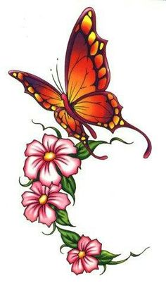 Butterfly and 3 flowers could mean a single parent with three kids.