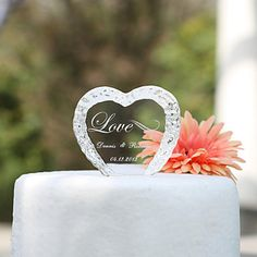 Personalized Crystal Heart Wedding Cake Topper – USD $ 9.99