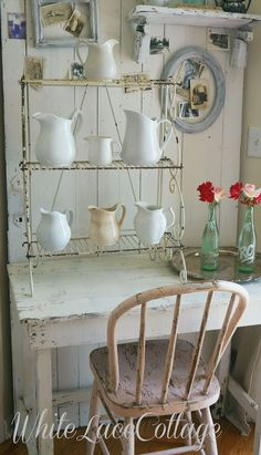 Love this white shabby farmhouse look.